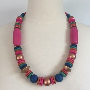 Multicolored Tribal Style Wooden Bead Necklace